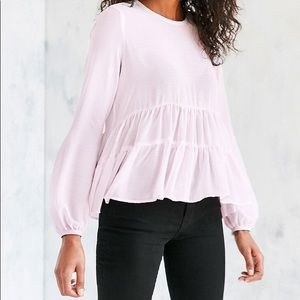 Kimchi Blue Pink gauze ruffle peplum blouse